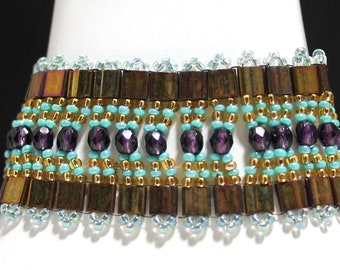 SALE-Gold and Purple Tila Bracelet