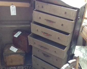 Edwardian ships trunk with internal hanging space and drawers