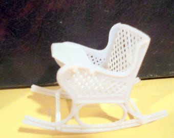 Doll House Baby Rocker with Tray White Plastic