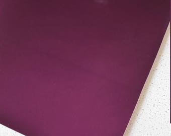 A4 Size Thick Purple Patent Mirrored Leatherette 0.8mm Thickness Mirror Purple  Glossy Leather