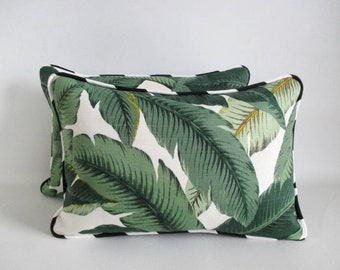 Pair Lumbar Pillow Covers Tropical Palm Leaves Black and White Stripe Piping Tommy Bahama