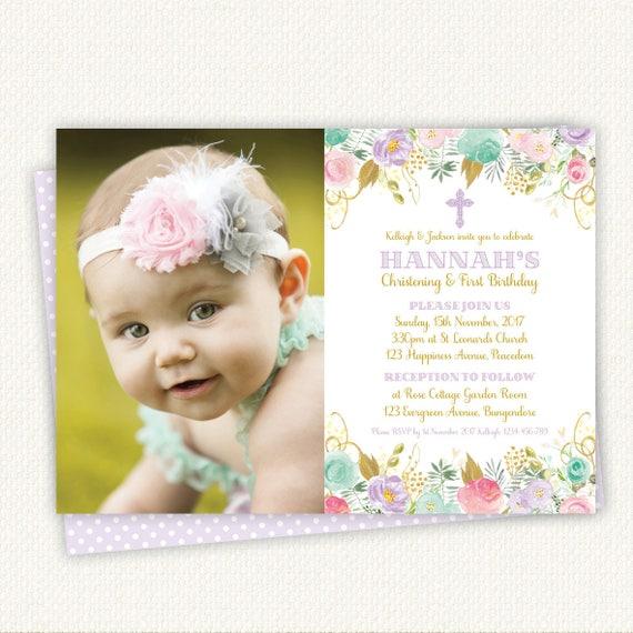 First Birthday And Baptism Invitations 1st Birthday And: Christening Birthday Invitation Baptism Birthday Invitation