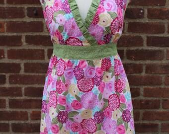 Bright Floral Print Apron/Baking Apron/Modern Apron