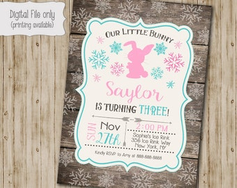 Bunny Winter ONEderland Invitation, Wood First Birthday Invite, Bunny Invitation, Winter ONEderland, Rustic, Snow, First Birthday
