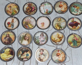 Assorted Set of 10 Primitive Vintage Nostalgic Easter Chicks Bunny  Metal Rimmed Hang Tags - Tie Ons - Gift Tag - Scrapbooking - Ornies