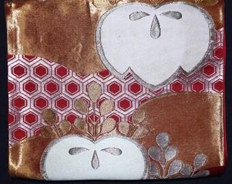 Vintage Japanese Obi Kimono Belt Sash Fukuro Style - Tachibana on Red