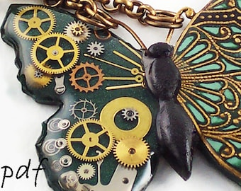 Polymer clay tutorial, resin tutorial, steampunk filigree butterfly pendant necklace, pdf, butterfly necklace, instant download