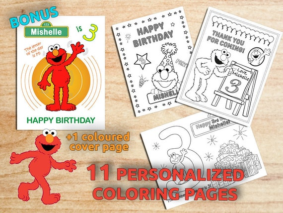 ELMO Birthday Party Coloring Pages Sesame Street Cookie