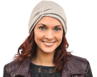 Silver knitted hat, ruched hat, spring light knit beanie, cute grey girl's hat, handmade womens hat, victoria grace clothes
