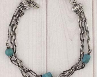 Turquoise TRINITY-SterlingBracelet/Antiqued-3 Strand