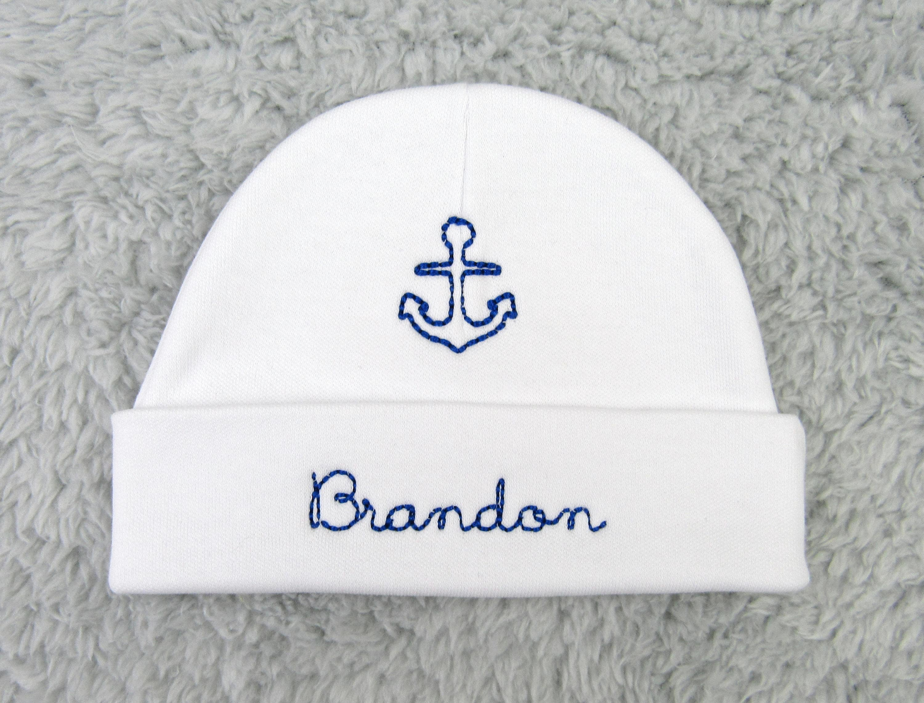 88d0504a4ba Personalized baby hat with anchor - newborn beanie