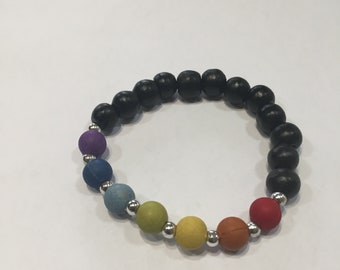 7 color chakra handmade bracelet black wooden beads and silver plastic spacers