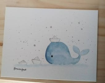 Illustration the blue whale and the paper boats