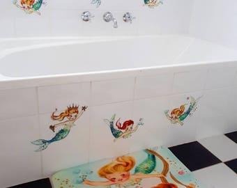 NEW Vintage kitsch retro style Mermaidians mermaid baby nursery pastel  doll mod bath mat indoor bedroom bathroom floor rug Vinnie Boy