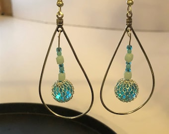 Silver Tear Drop and Glass Bead Earrings