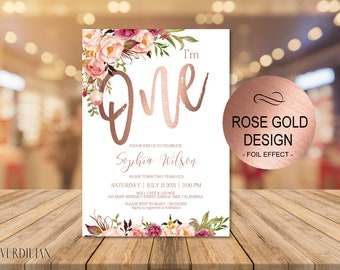rose gold 1st birthday invitation blush floral first birthday party invitebaby one birthday invitation diy pdf instant download vrd201gwr