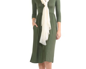 Fit and Flare Midi Dress with Pockets Olive Solid