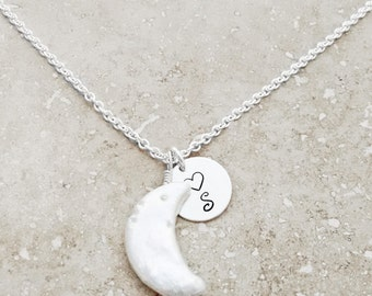 MOON NECKLACE - Moon, Moon Jewelry, Custom Jewelry, Initial Necklace, Special Gift, Etsy, Pearl Necklace, Pearl Jewelry, Gift Wrapped