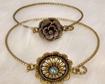 Bracelets bronze and Swarovski crystal bracelets