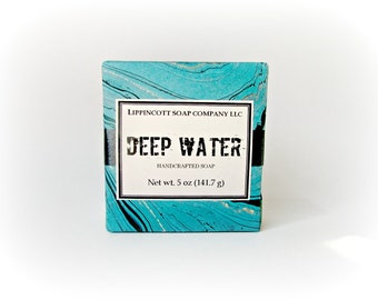 Deep Water Soap, Cold Process Soap, Men's Soap, Phthalate Free, Bar Soap, Palm Oil Free Soap, Citrus, Aquatic, Patchouli, Cedar,Gift for Him