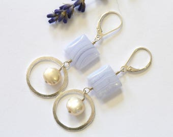 Sterling pearl drop earrings with blue lace agate