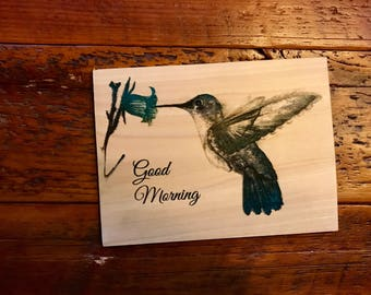 Good morning Engraved on wood piece