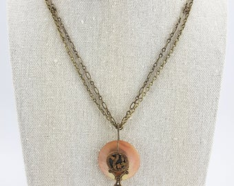 Antique Mother of Pearl and Victorian Button Pendant Necklace