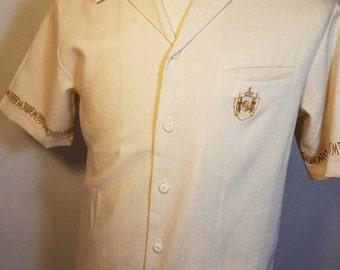 FREE  SHIPPING  1960 men Tiki Aloha Hawaiian Shirt