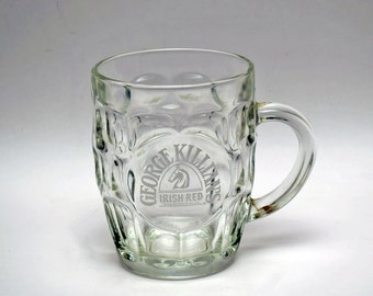 Vintage Killian's Irish Red Dimpled Laser Etched 16 Ounce Clear Glass Mug / Stein / Pub Pint