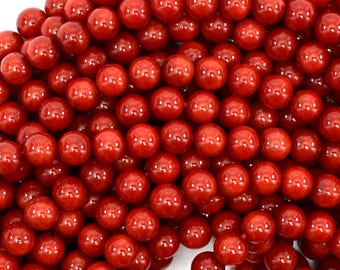 "6mm red coral round beads 15.5"" strand 39090"