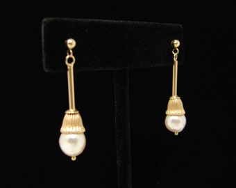 14K Gold Pearl Earrings, Yellow Gold, Drop Earrings for Pierced Ears, Estate Jewelry, Dangle Earrings