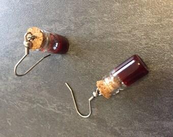 Earrings small vial of blood