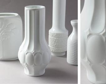 Royal Porzellan Bavaria KPM bisque porcelain vase, Op-Art, matte white, Germany, 60s 70s vintage, gift her women wife girlfriend