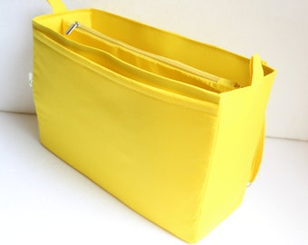 Extra large Bag organiser with padded pocket for laptop - Purse organizer insert in Sunflower/dandelion yellow fabric