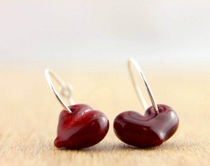 Deep Red Earrings, hand made with glass and sterling silver, lamp work bead by Destellos - Glass Art & Accessories, READY TO SHIP