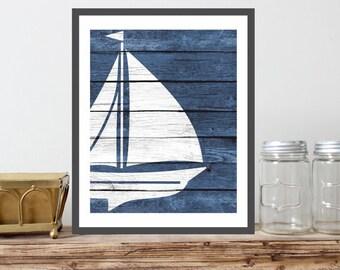 Nautical Ship Art Print - Sailing Art, Rustic Nautical Nursery Art, Beach Bathroom Art, Nautical Bedroom, Coastal Wall Decor, Ocean Nursery