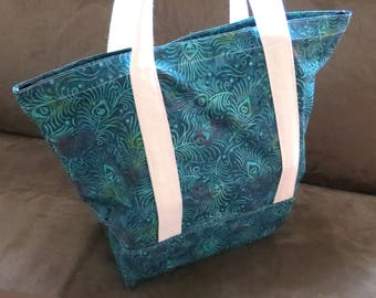 FREE SHIPPING ALWAYS - Peacock feather teal print tote bag, cotton bag, reusable grocery bag, knitting project bag, Green Market bag