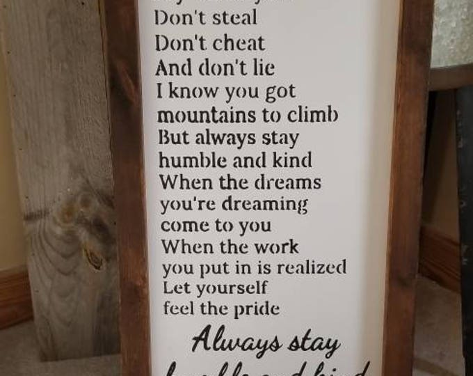 Always Stay Humble And Kind Farmhouse Decor Framed Handmade Rustic Wood Sign Fixer Upper Style