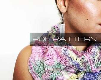 "Knitting Pattern . Cowl . ""Circle Of Leaves"" . PDF pattern"