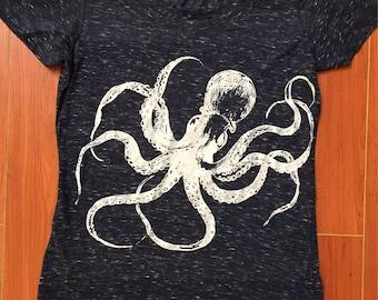 Kraken Octopus T-Shirt MADE IN USA speckled Navy Blue