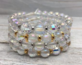 Radiant Healing Mala Inspired Bracelet - Aurora Borealis Crystal Quartz