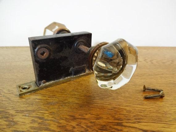 Antique Octagonal Crystal Doorknobs w/Center Rosette - Mortise Lock ...