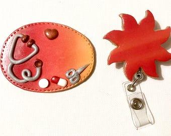 BADGE + scissor Sun nurse etc... Theme Stethoscope and tablets on orange red ombre