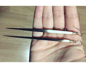 Quill Spearrings — porcupine quills, brass cap, nature, ethically sourced, naturally shed, nickel-free durable edgy wild, nashville country