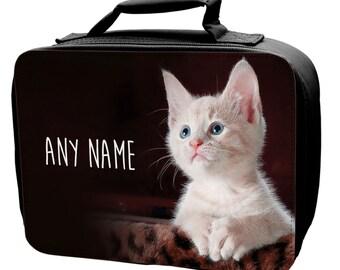 Personalised Kitten Lunch Bag - school - kids - children -girls -boys