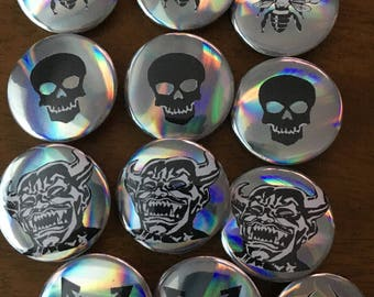 Holographic Graphic Pins, Pinback Buttons, Buttons, Pins, Alien, Devil, Trans Pride,  Stand with Trans, Biohazard, Bees, Save the Bees