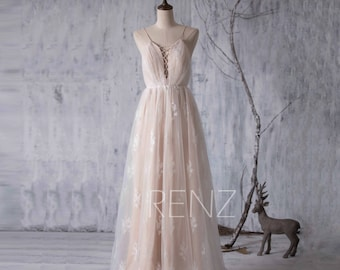 Wedding Dress,Champagne Tulle Bridesmaid Dress,Spaghetti Strap Hollow Bridal Dress,Lace Maxi Bride Dress,Backless A Line Eveing Dress(LW088)