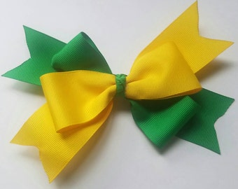 Two Tone Handmade Bow, Cheerleader Bow, Team Spirit, Dance Team Bow, School Spirit Bow