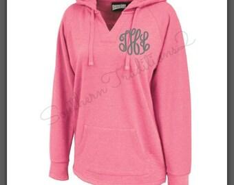 Monogram Sport Hoodie - Ladies VNeck Hoodie - Monogram Spirit Hoodie Jacket - Pullover Hoodie Jacket