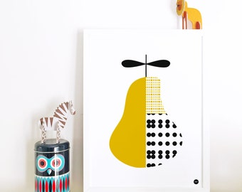 Modern nursery decor, Kids room art print, modern wall art, nursery poster, pear art print, kitchen art, scandinavian print